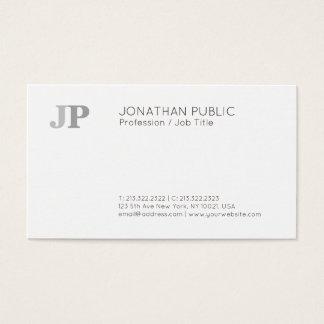 Plain Modern Elegant Monogram Chic Black White Business Card