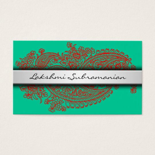 Plain Modern India Paisley Business Cards