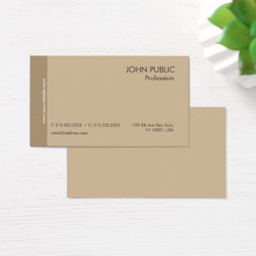 Lawyer Themed Plain Modern Professional Elegant Brown and Beige Business Card