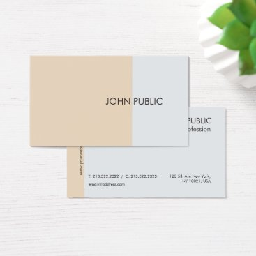 Lawyer Themed Plain Modern Professional Elegant Chic Beige Business Card