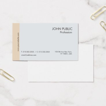 Lawyer Themed Plain Modern Professional Elegant Chic Grey Beige Business Card
