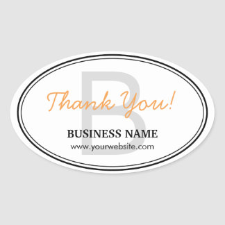 Plain Monogram Business Thank You Oval Stickers