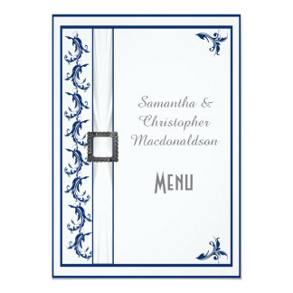 Plain navy blue and white lace wedding menu card