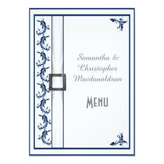 Plain navy blue and white lace wedding menu 5x7 paper invitation card