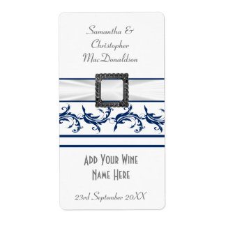 Plain navy blue and white wedding wine bottle label