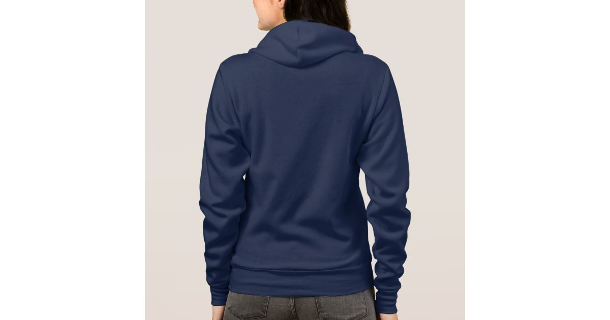 Plain navy blue hoodie fleece for women, ladies | Zazzle