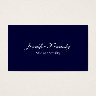 Plain Navy Blue Simple Classical Handwriting Business Card