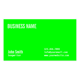 Plain Neon Green Songwriter Business Card