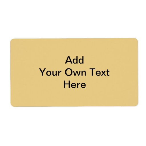 Plain non-metallic Gold with black text. Custom Shipping Label
