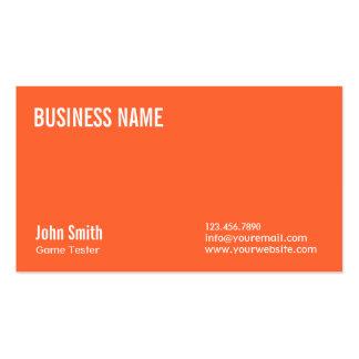 Plain Orange Game Testing Business Card