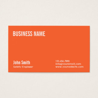 Plain Orange Safety Engineer Business Card