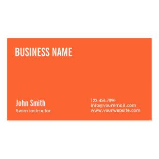 Plain Orange Swim Instructor Business Card