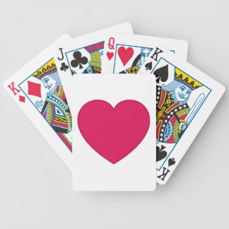 Plain Outlined Cherry Red Heart Bicycle Playing Cards
