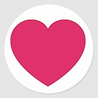 Plain Outlined Cherry Red Heart Classic Round Sticker