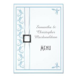 Plain pastel blue and white lace wedding menu 5x7 paper invitation card