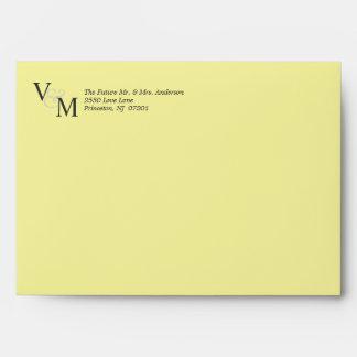 Plain Pastel Yellow Wedding Invite Envelopes