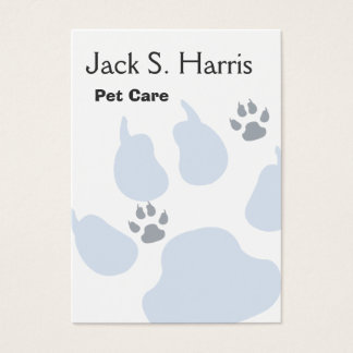 Plain Pet Care Animal Sitter Dog Cat Paw Prints Business Card