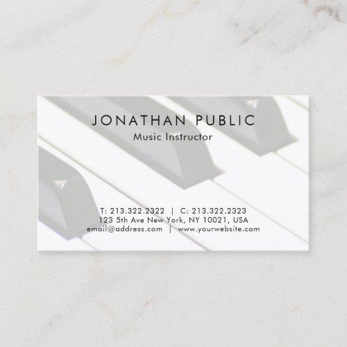 Plain Piano Music Teacher Professional Simple Business Card