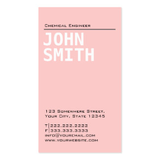 Plain Pink Chemical Engineer Business Card