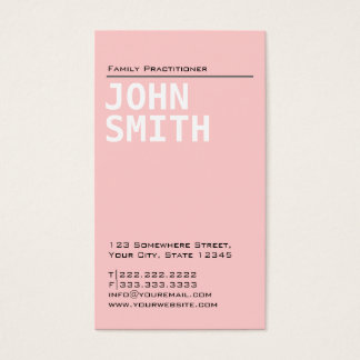Plain Pink Family Practitioner Business Card
