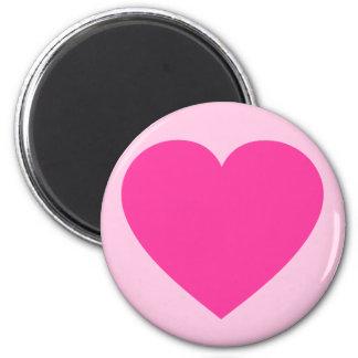 Plain Pink Heart 2 Inch Round Magnet