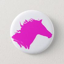 Plain pink horse head pinback button