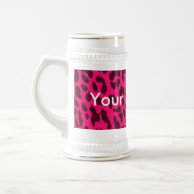 Plain Pink Leopard Print Mug - Stein