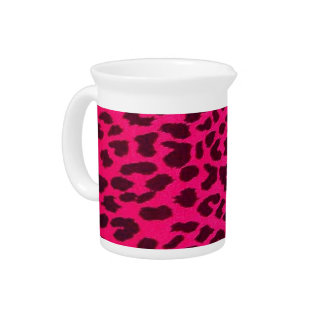 Plain Pink Leopard Print Pitcher