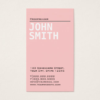 Plain Pink Proofreading Business Card