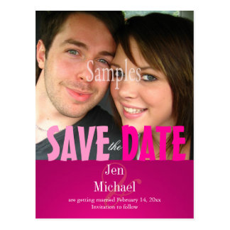 Plain, Pink Save the Date Photo/DIY fonts Postcards