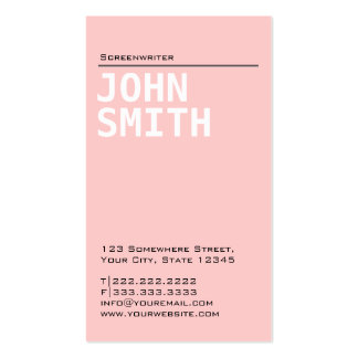 Plain Pink Screenwriter Business Card