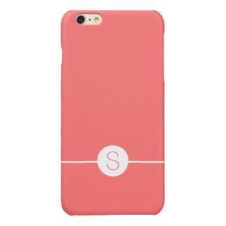 Plain Pink White Monogram - Minimal iOS 8 Style Glossy iPhone 6 Plus Case