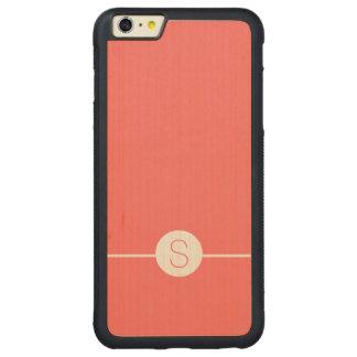 Plain Pink White Monogram - Minimal iOS 8 Style Carved® Maple iPhone 6 Plus Bumper