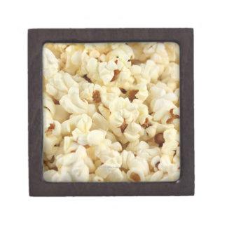 Plain popcorn close up. gift box