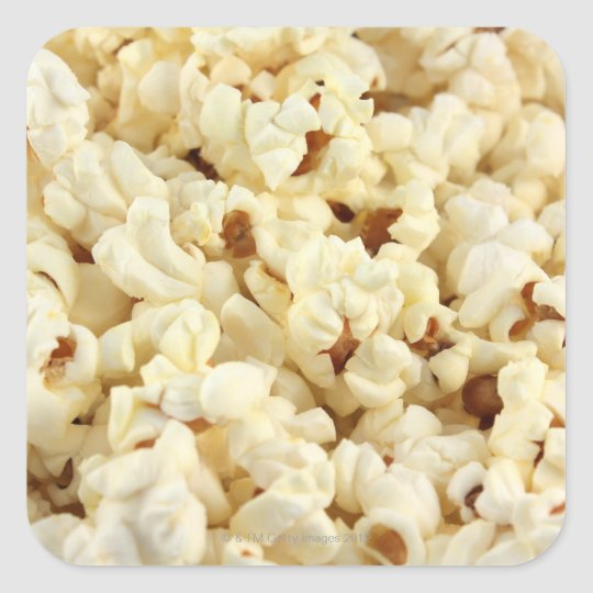 Plain popcorn close up. square sticker