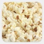 Plain popcorn close up. square stickers