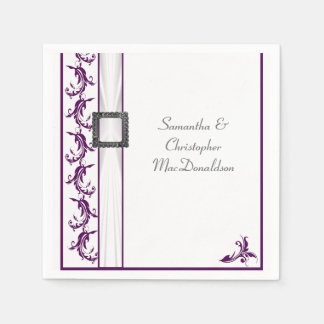 Plain purple and white lace traditional wedding paper napkin