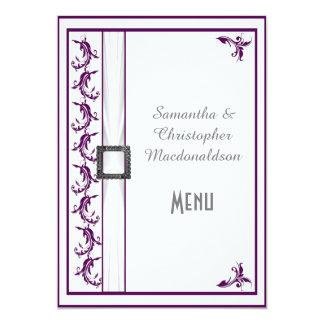 Plain purple and white lace wedding menu 5x7 paper invitation card