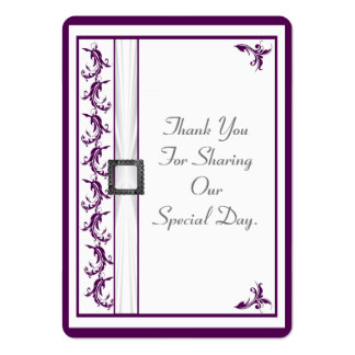 Plain purple and white lace wedding thank you tag large business cards (Pack of 100)