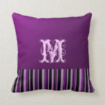 Plain Purple Background. Monogram Retro Stripes Throw Pillows