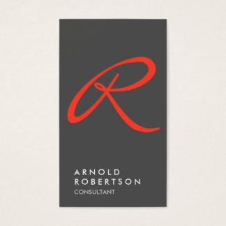 Plain Red Gray Trendy Monogram Business Card