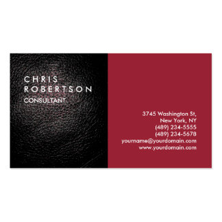 Plain Red Leather Modern Creative Business Card