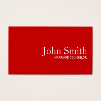 Plain Red Marriage Counseling Business Card