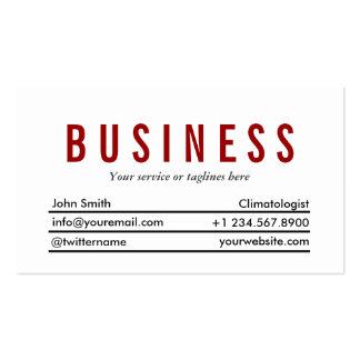 Plain Red Title Climatologist Business Card