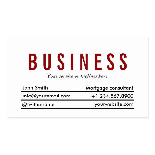 Plain Red Title Mortgage Agent Business Card