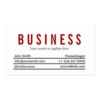 Plain Red Title Parasitology Business Card