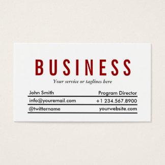 Plain Red Title Program Director Business Card