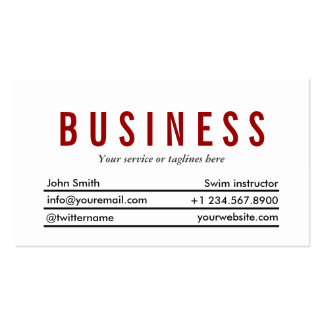 Plain Red Title Swim Instructor Business Card