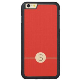 Plain Red White Monogram - Minimalist iOS 8 Style Carved® Maple iPhone 6 Plus Bumper