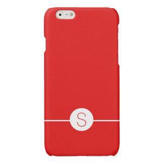 Plain Red White Monogram - Minimalist iOS 8 Style Glossy iPhone 6 Case